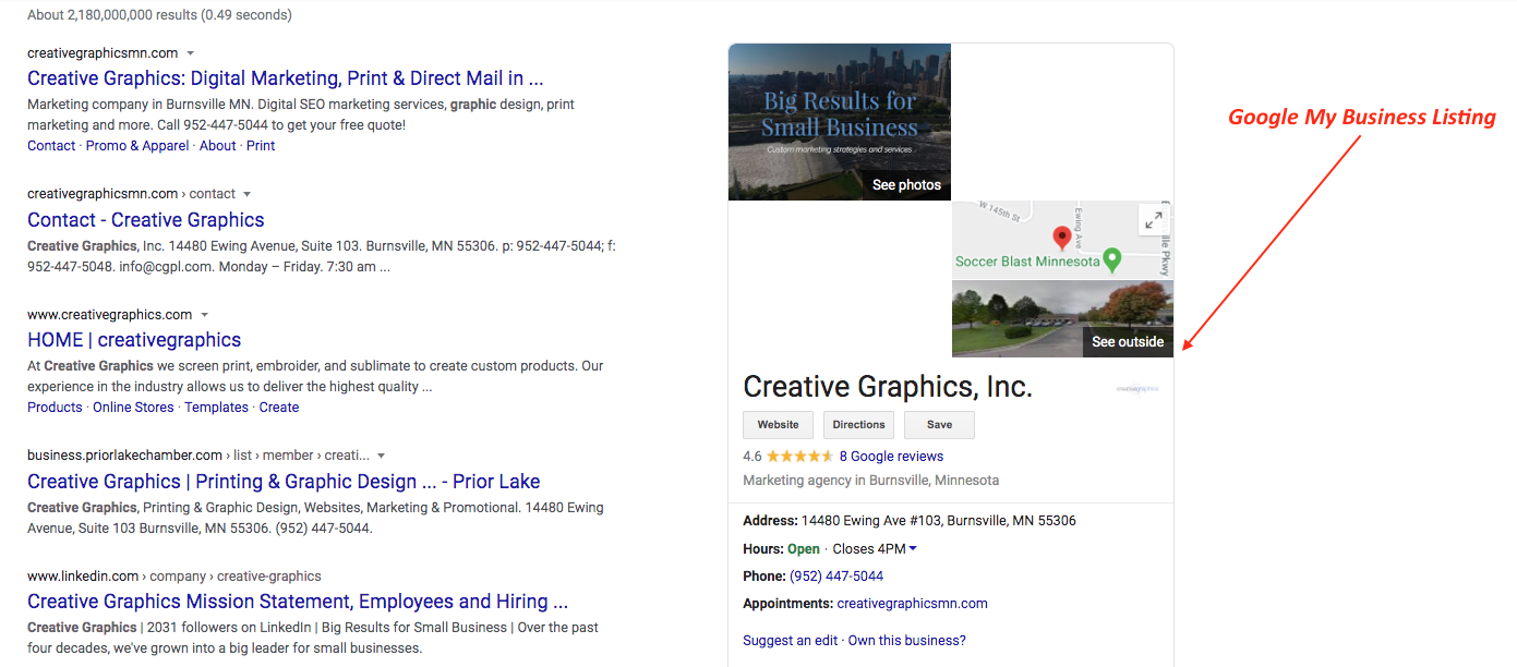 Picture of the Creative Graphics GMB listing.