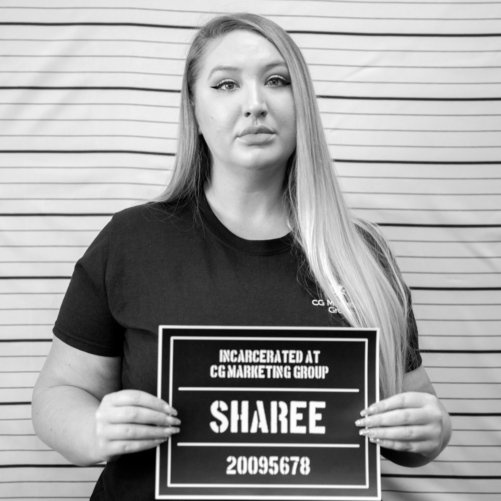 Fake mugshot of employee - Sharee