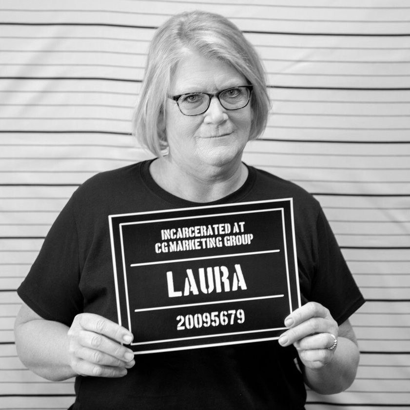 Fake mugshot of employee - Laura