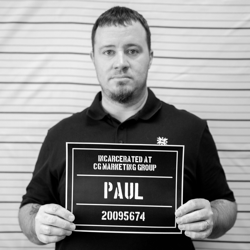 Fake mugshot of employee - Paul