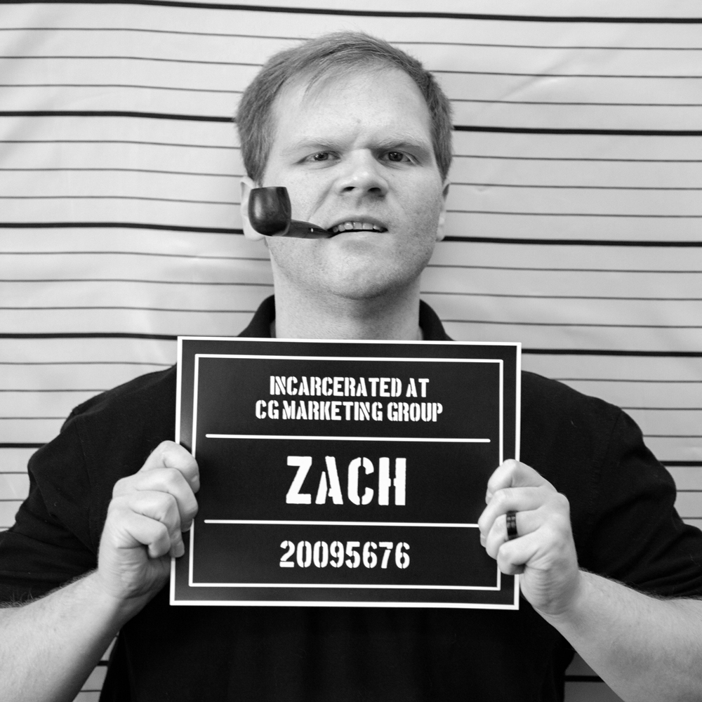 Fake mugshot of employee - Zach